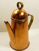 """VTG Copper & Brass handle Teapot or Coffee Pot Hinged Lid 8.75"""" tall - $84.15"""