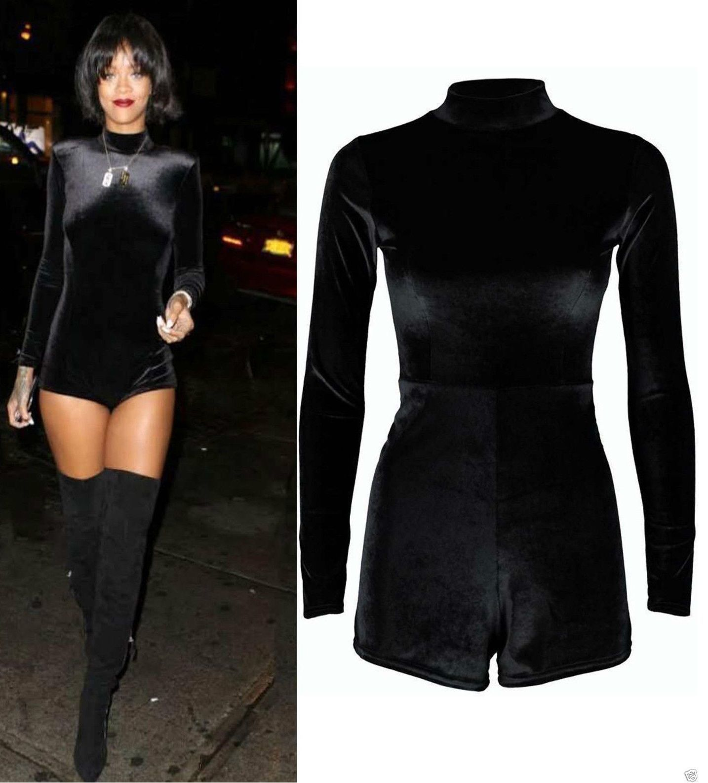 New Womans Polo Turtle Neck Celeb Inspired Rihan Velvet Velour Playsuit Dress U. for sale  USA