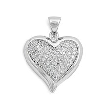 Sterling Silver CZ Heart pendant love New d39 - $23.11
