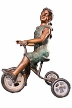 Jumbo Girl on Tricycle Lost Wax Bronze Statue Sculpture - $3,500.00