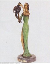 """20""""H """"Lady with Parrot"""" Lost Wax American Bronze Statue by Demetre Chiparus - $999.95"""