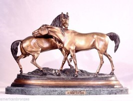 """14""""H L'Accolade 2 Horses by P. J. Mene Solid Bronze Collectible Sculpture Statue - $999.95"""