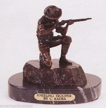 "8""H Kneeling Trooper Collectible Pure Bronze Sculpture Statue By Carl Kauba - $433.50"