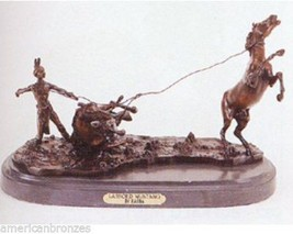 "18""L Lassoed Mustang Collectible Lost Wax Bronze Sculpture Statue By Car... - $1,200.00"