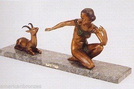 """33""""H """"Deco With Fawn"""" Lost Wax American Bronzes Statue by Demetre Chiparus - $2,170.00"""