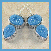 Light Blue Titanium DRUZY Gemstone Oval & Pear Sterling Silver Dangle Ea... - $34.99