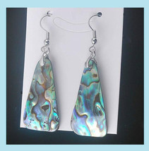 "Blue Inlaid Abalone Sea Shell Triangle Shape Silver 2"" Dangle Hook Earrings - $34.99"