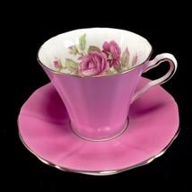 Adderley Pink teacup Cup & Saucer Set Vintage Roses Gilt Trim - $41.71