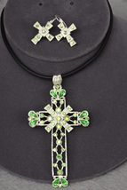 Fashion Green SwarovskiI Crystal Chunky Cross Necklace & Earring Set EP... - $25.50