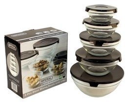 10 Pcs Glass Lunch Bowls Healthy Food Storage Containers Set with Black ... - $12.73