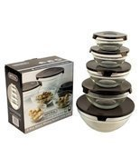 10 Pcs Glass Lunch Bowls Healthy Food Storage Containers Set with Black ... - €10,71 EUR
