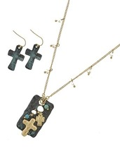 Fashion Hammer Cross In Turquoise Pearls  Necklace Earring  Set  EP0037 - $22.50