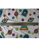 Poly Cotton Fabric Kids Clothing Decor Planes Helicopters Balloons 3/4 y... - $1.00