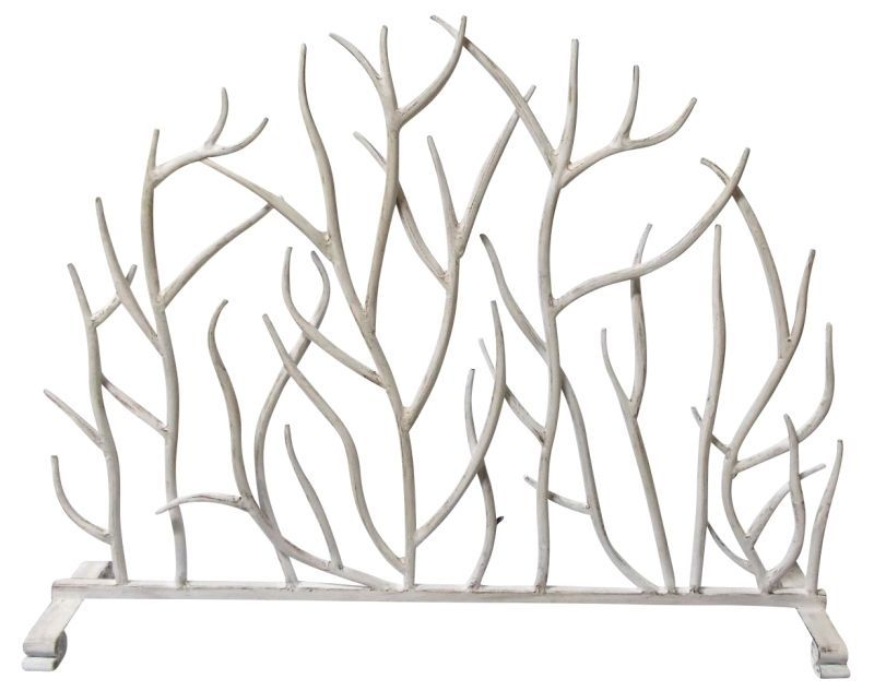 French Country Contemporary Twig White Iron Fireplace