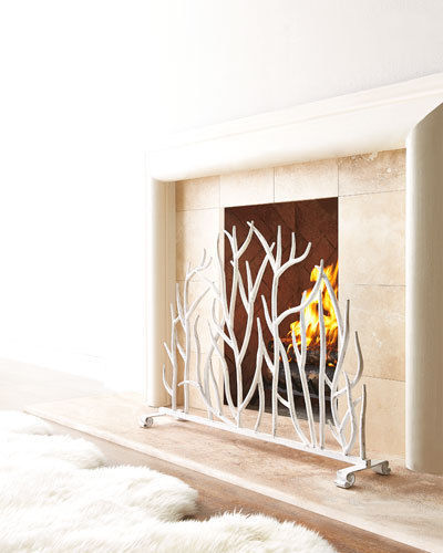 french country contemporary twig white iron fireplace screen 38 5 39 x 30 39 39 h fireplace screens. Black Bedroom Furniture Sets. Home Design Ideas