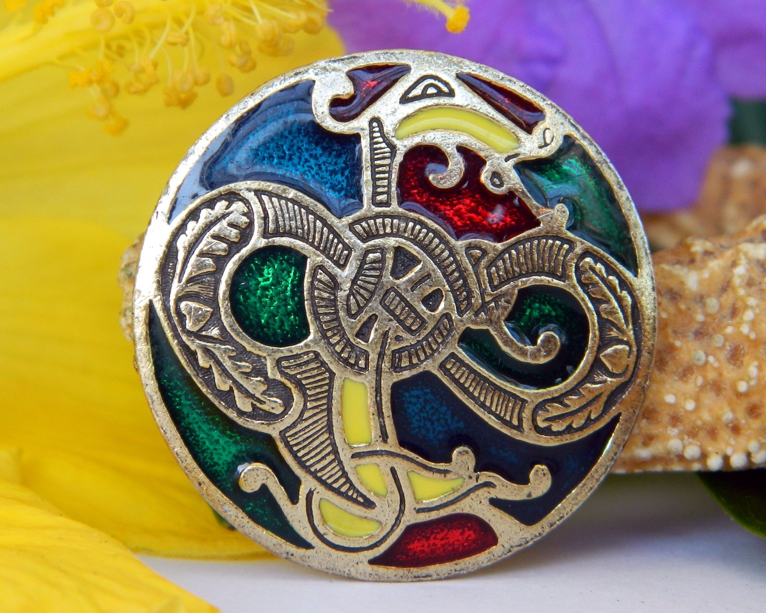 Primary image for Vintage Miracle Enamel Brooch Pendant Celtic Sea Serpent Dragon Soldor