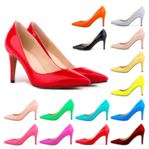 Classic Ladies Shiny PU Leather Pointed Toe Cone Heel Pumps Many Colors n Sizes