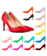 Classic Ladies Shiny PU Leather Pointed Toe Cone Heel Pumps Many Colors ... - $76.95