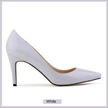 Classic Ladies Shiny PU Leather Pointed Toe Cone Heel Pumps Many Colors n Sizes image 2