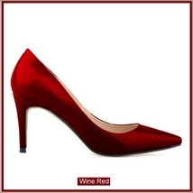 Classic Ladies Shiny PU Leather Pointed Toe Cone Heel Pumps Many Colors n Sizes image 3