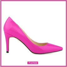 Classic Ladies Shiny PU Leather Pointed Toe Cone Heel Pumps Many Colors n Sizes image 5