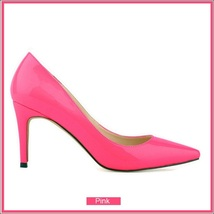 Classic Ladies Shiny PU Leather Pointed Toe Cone Heel Pumps Many Colors n Sizes image 6