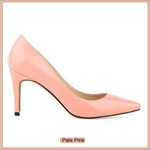 Classic Ladies Shiny PU Leather Pointed Toe Cone Heel Pumps Many Colors n Sizes image 7