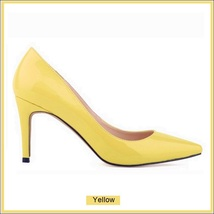 Classic Ladies Shiny PU Leather Pointed Toe Cone Heel Pumps Many Colors n Sizes image 8