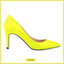 Classic Ladies Shiny PU Leather Pointed Toe Cone Heel Pumps Many Colors n Sizes image 9