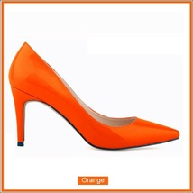 Classic Ladies Shiny PU Leather Pointed Toe Cone Heel Pumps Many Colors n Sizes image 10