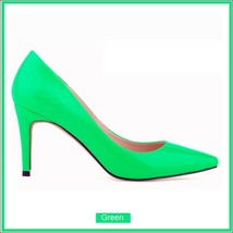Classic Ladies Shiny PU Leather Pointed Toe Cone Heel Pumps Many Colors n Sizes image 11