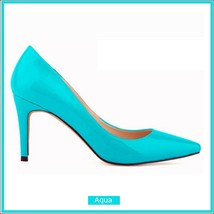 Classic Ladies Shiny PU Leather Pointed Toe Cone Heel Pumps Many Colors n Sizes image 12