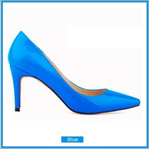Classic Ladies Shiny PU Leather Pointed Toe Cone Heel Pumps Many Colors n Sizes image 13