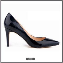 Classic Ladies Shiny PU Leather Pointed Toe Cone Heel Pumps Many Colors n Sizes image 14
