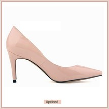Classic Ladies Shiny PU Leather Pointed Toe Cone Heel Pumps Many Colors n Sizes image 15
