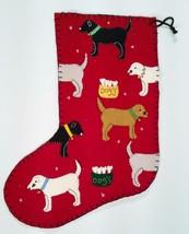 Avon Red Felt Christmas Stocking Dogs Labs Labradors Bowls Bones Bells NEW - $23.76