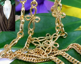 Vintage Vendome Necklace Cross Looped Flowers Twisted Chain Gold Tone - $19.95