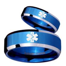 His Hers Medical Alert Beveled Edges Blue 2 Tone Tungsten Engraved Ring Set - $79.98