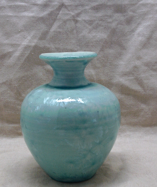 Vintage Aqua blue Iridescent Urn Shaped Table Vase