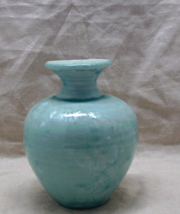 Vintage Aqua blue Iridescent Urn Shaped Table Vase - $10.00