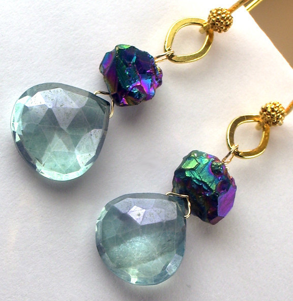 Teal Titanium Rainbow Druzy Earrings 14k Gold Fill Wire Wrapped Teal Quartz Fash