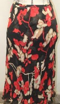 INC International Floral Red Black 100% Silk Size 6 28 Inches Lined Holiday - $27.76
