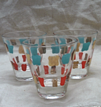 Vintage set of 3 Turquoise, Orange,Gold Abstract Design Mid Century Shot Glasses - $13.00