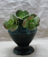 Vintage Retro Mid Century Green Pottery Pedestal Planter Urn Vase - $9.50