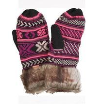 WOMENS BILLABONG MISTY FAUX FUR MITTENS WINTER SNOW SKII NEW $29 HOT PINK - $22.99