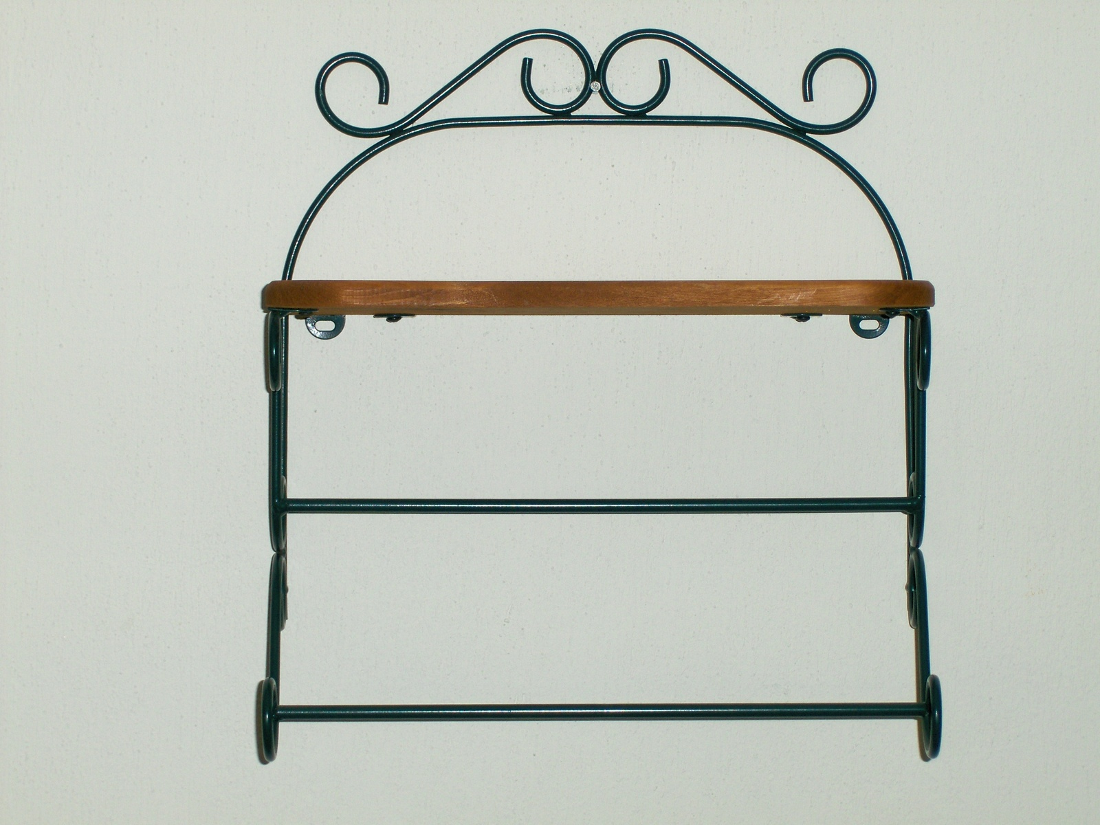 Wonderful image of Homco Country Oak Wood Hunter Green Wrought Iron Metal Wall Shelf Home  with #704824 color and 1600x1200 pixels
