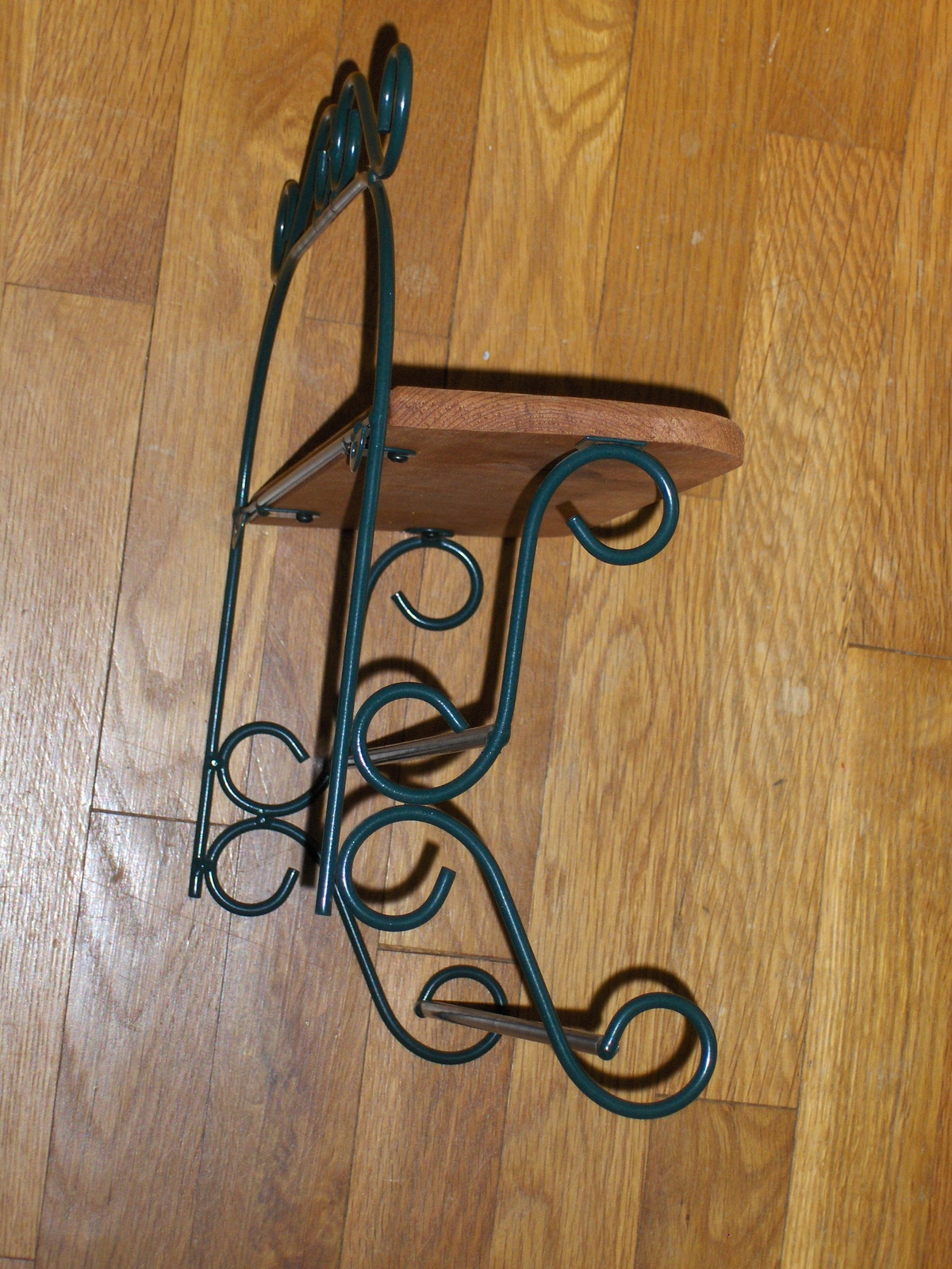 Wonderful image of Homco Country Oak Wood Hunter Green Wrought Iron Metal Wall Shelf Home  with #946D37 color and 1200x1600 pixels