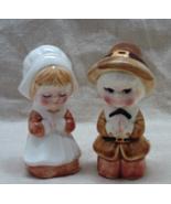 Vintage LEFTON CHINA Pilgrim/Praying Couple S&P Shaker Set // THANKSGIVI... - $15.00