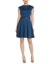ABS by Allen Schwartz Women's Cap Sleeve Funnel Neck Party Dress (Medium, Blue)
