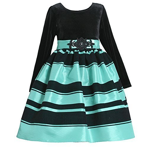 Bonnie Baby Baby Girls' Black Velvet Turquoise Stripe Christmas Dress 24M X13...